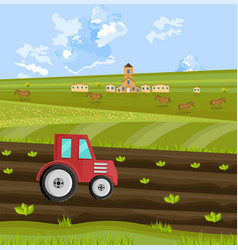 tractor is processing the earth at the farm vector image