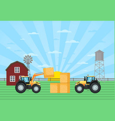 tractor load hay bale in stack on farm vector image
