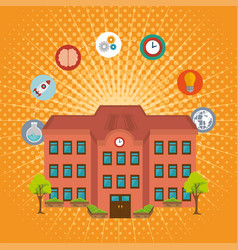 University building facade and set icons vector