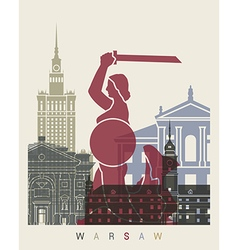 Warsaw skyline poster vector image