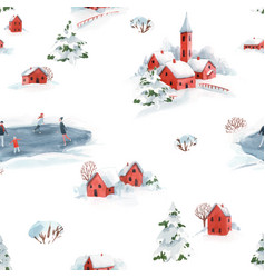 watercolor seamless pattern winter snowy vector image