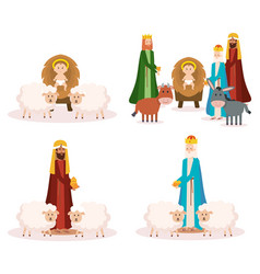 wise kings and baby jesus manger characters vector image