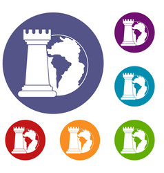 world planet and chess rook icons set vector image