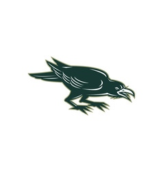 Angry crow side isolated retro vector