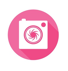 Camera icon long shadow symbol flat vector image