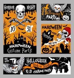 halloween horror skull poster night party design vector image vector image