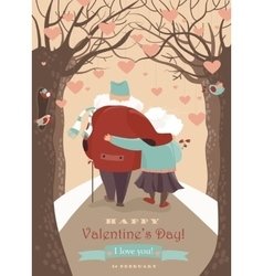 Old couple in love walking vector image