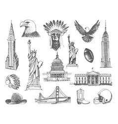 sketches of symbols of the usa vector image vector image