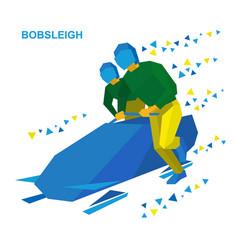 Bobsleigh cartoon athletes running near bobsled vector
