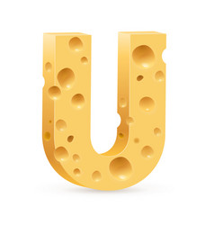 cheese font u letter on white vector image