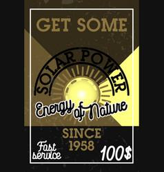color vintage solar panels banner vector image