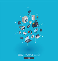 electronics integrated 3d web icons digital vector image vector image