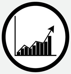 Growth chart icon black white vector image