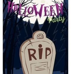 Halloween party poster with tombstone and moon vector image