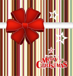 Merry Christmas Greeting Card with ribbon vector image