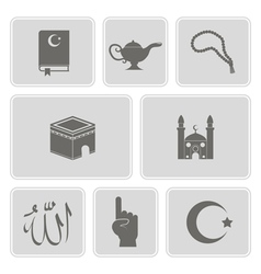 monochrome set with islamic icons vector image