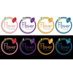 set of emblems of flower boutique vector image vector image
