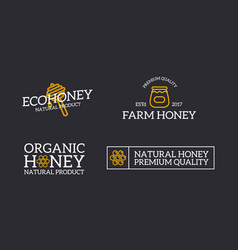 set of retro vintage honey and bee honeycomb vector image vector image