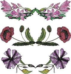 Set of watercolor floral borders vector