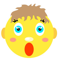 smiley boy screams scared vector image vector image