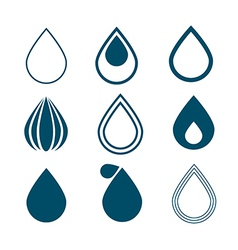 Blue Water Drops Symbols Set Isolated on White vector image vector image