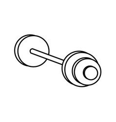 Dumbbell weight gym metal equipment line vector