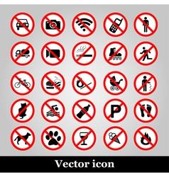 Set ban icons prohibited symbols red circle signs vector