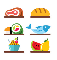 set of various food flat style colorful vector image vector image