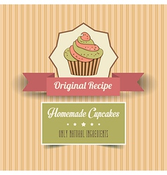 vintage homemade cupcakes poster vector image
