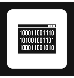 Binary code on screen icon simple style vector image vector image