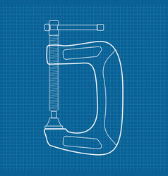 c clamp icon blueprint background vector image vector image