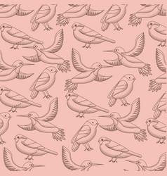 pattern decoration flying birds natural vector image