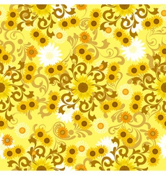 sunflower pattern vector image vector image