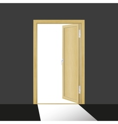 Wooden open door in a dark room vector image