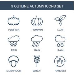 9 autumn icons vector