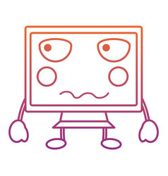 Angry computer monitor kawaii icon image vector