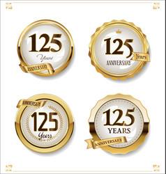 Anniversary golden labels retro vintage design vector