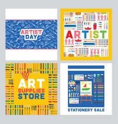 art supplies studying in art-school vector image