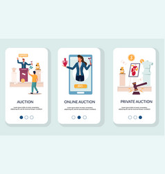 auction mobile app onboarding screens vector image