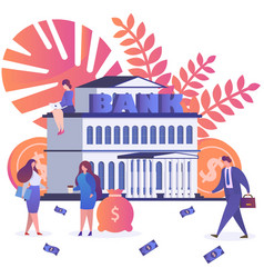 bank people around building banknotes and vector image