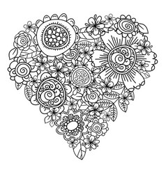 big heart of spring flowers for coloring book vector image