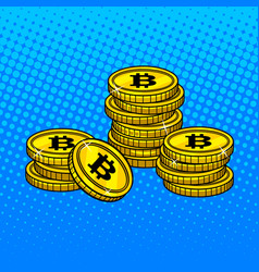 bitcoin money pop art style vector image