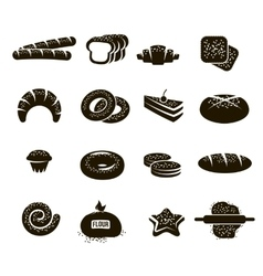 Black Bakery Icons Set vector
