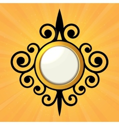 Blank Orange Sticker with Curled Border vector image