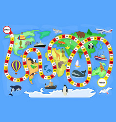 board game cartoon kids boardgame on world vector image