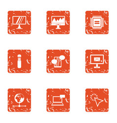 Boost icons set grunge style vector