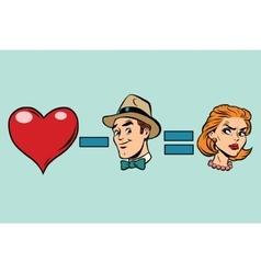 Broken heart minus man equals angry woman vector