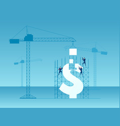 Business team construction crane and building vector