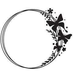 butterfly circle frame with plants and flowers vector image