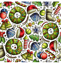 cartoon cute hand drawn xmass seamless pattern vector image
